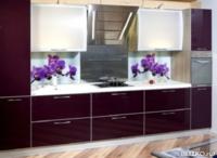 Кухонный гарнитур Пластик в алюминиевой рамке, орех