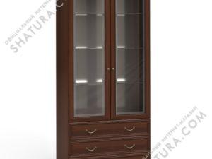 Шкаф 2 дв.,  2 дв. стекл.,  3ящ. (полки стек.,  зерк.), FSK-01.Z1L