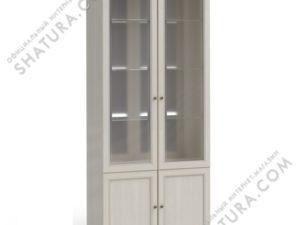 Шкаф 2 дв.,  2дв.стекл.,  2дв. щит.(полки стек., зерк.), FSK-01.T8L