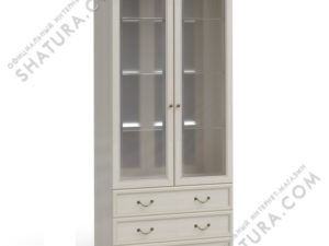 Шкаф 2 дв.,  2 дв. стекл.,  3ящ. (полки стек.,  зерк.), FSK-01.T8L