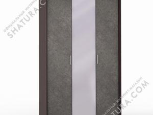 Шкаф 3 дв. (1 + 1 + 1) с зерк. паспарту, FU1-01.CP/DFS