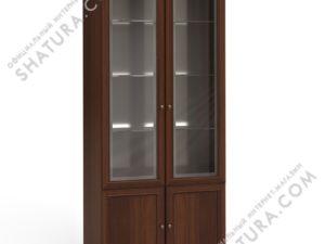 Шкаф 2 дв.,  2 дв. стекл.,  2щит. (полки стек.,  зерк.), FSK-01.Z1L