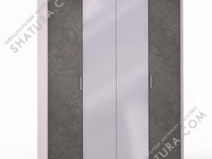 Шкаф 4 дв. (1 + 2 + 1) с зерк. паспарту, FU1-01.CG/DFS