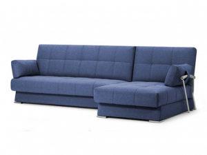 Дудинка угловой диван Рогожка синий
