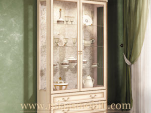 Шкаф двухдверный для посуды крем в Миассе
