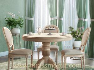 Стол обеденный с круглой крышкой крем в Миассе