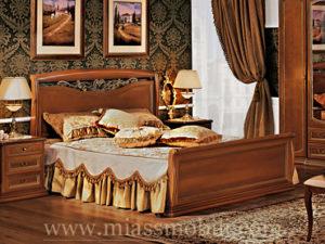 Двуспальная кровать с кованым элементом и прямой ножной спинкой орех в Миассе