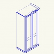 Сп СФ-8-1 Шкаф 2х дверный с гнут. карнизом с 2мя зеркалами