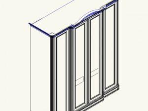Сп СФ-8-3/3 Шкаф 4х дверный с 2мя зеркалами